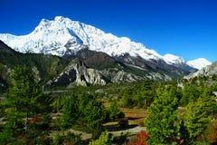 Härlig sikt av Annapurna och Gangapurna område Färgrika Nepal Royaltyfri Fotografi