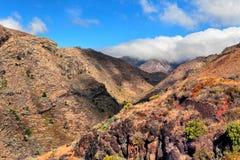 Härlig sikt av bergen, La Gomera fotografering för bildbyråer