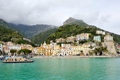 Härlig sikt av Cetara, Amalfi kust, Italien Arkivbild