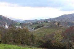 Härlig sikt av dalen på höstsäsong i Spanien Europa Arkivbilder