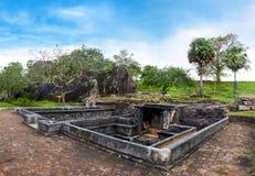 Härlig sikt av dammet på Ranmasu Uyana i Anuradhapura, Sri Lanka Arkivfoton