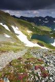 Härlig sikt av den Balea dalen i Fagaras berg Arkivbild