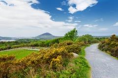 Härlig sikt av den Connemara nationalparken som är berömda för myrar och heder, hållet ögonen på över av dess konformade berg, Di arkivbilder