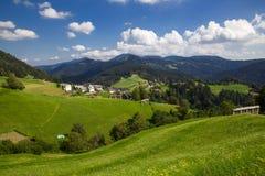 Härlig sikt av den lilla byn i Slovenien Arkivbild