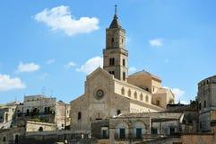 Härlig sikt av den Matera domkyrkan från en balkong av Matera den gamla staden, UNESCOvärldsarv och européhuvudstad av kultur 2 arkivbild