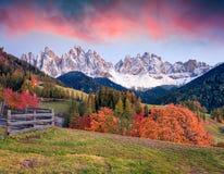 Härlig sikt av den Santa Maddalena byn framme av den Geisler eller Odle Dolomitesgruppen Färgrik höstsolnedgång i Dolomitefjällän Royaltyfri Bild