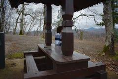 Härlig sikt av gazeboen som förbiser bergen arkivfoto