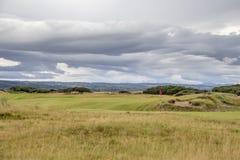 Härlig sikt av golfbanan i Skottland Royaltyfri Fotografi