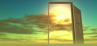 Härlig sikt av himlen dörrhimmel till Arkivfoto