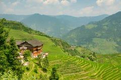 Härlig sikt av husen av byn av Dazhay, risterrasser och berg arkivbilder