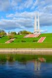 Härlig sikt av invallningen av bajonetter för Zapadnaya Dvina flod- och minnesmärkekomplex tre, Vitebsk, Vitryssland Arkivbild