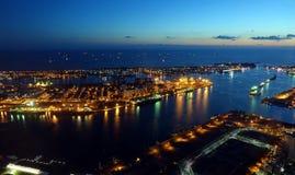 Härlig sikt av Kaohsiung port på aftonen Tid Royaltyfria Foton