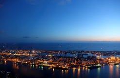 Härlig sikt av Kaohsiung port på aftonen Tid Royaltyfri Foto