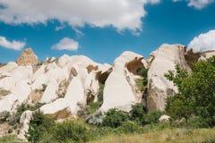 Härlig sikt av kullarna av Cappadocia En av sikten av Turkiet Turism lopp, härliga landskap, natur Arkivbilder