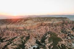 Härlig sikt av kullarna av Cappadocia En av sikten av Turkiet Turism lopp, härliga landskap, natur Royaltyfria Bilder