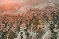 Härlig sikt av kullarna av Cappadocia En av sikten av Turkiet Turism lopp, härliga landskap, natur Royaltyfria Foton