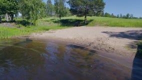 Härlig sikt av lokala simma lekar på sjön H?rliga naturlandskap arkivfilmer