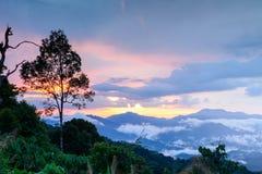 Härlig sikt av naturen från berget under solnedgång Arkivfoto