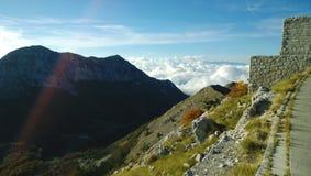 Härlig sikt av naturen på Lovcen Fluffiga moln nedanför bergen, en fluffiga Bush och en kontur av de avlägsna bergen Royaltyfri Foto