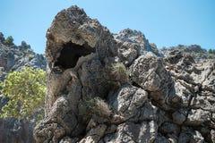 Härlig sikt av Sa Calobra på den Mallorca ön, Spanien Den härliga sikten vaggar på och små viker och seaguondestination Sa Calobr fotografering för bildbyråer