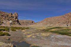 Härlig sikt av strömmen mellan berg mycket av frodig vege Arkivbilder