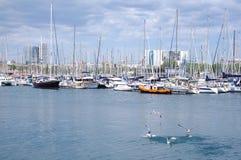 Härlig sikt av yachter som parkerar i hamnen, Barselona, Spanien royaltyfri fotografi