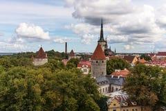 Härlig sikt för flyg- panorama- cityscape av den gamla staden i Tallinn i sommar, Estland royaltyfria foton
