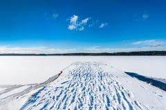 Härlig sikt för panoramavinterlandskap av blå himmel och djupfryst snösjö och en brygga med fotspår i snön arkivfoton