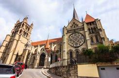 Härlig sikt för sommardag av den Lausanne domkyrkan av Notre Dame, Lausanne, Vaud, Schweiz, Europa Royaltyfria Bilder
