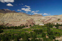 Härlig sikt från den Basgo kloster i Ladakh, Indien arkivbild