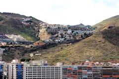Härlig sikt från kryssningskeppet på en del av Santa Cruz de Tenerife - kanariefågelöar, Spanien Royaltyfri Foto