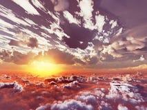 Härlig sikt ovanför moln Arkivfoto