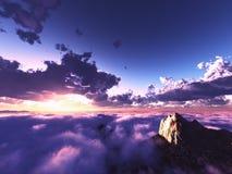 Härlig sikt ovanför moln Arkivbilder