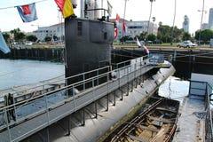 Härlig sikt på en gammal ubåt i maritimt museum av San Diego USA royaltyfria foton