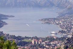 Härlig sikt på fjärden i Montenegro Fotografering för Bildbyråer