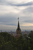 Härlig sikt, som öppnar på Barcelona Morgon i parkera Gu Arkivfoto