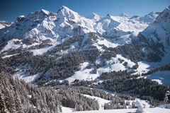 Härlig sikt som övervintrar schweiziska Alps Royaltyfri Fotografi