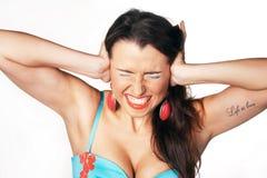 härlig sinnesrörelse isolerade ståendekvinnan Royaltyfri Foto