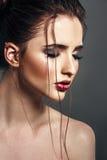 Härlig sinnlig brunettkvinna med ljus modemakeup Gla royaltyfri foto
