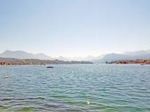 Härlig sjö Lucerne, Schweiz arkivbilder