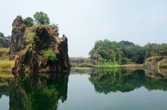 Härlig sjö nära Kochi, Malabar kust, sydliga Indien Arkivbilder
