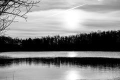 Härlig sjö och skog under solnedgång i monokrom royaltyfri fotografi