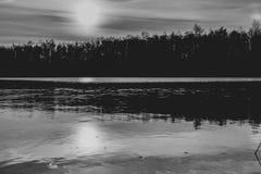 Härlig sjö och skog under solnedgång i monokrom royaltyfria foton