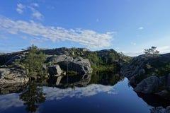 Härlig sjö på vägen till Preikestolenen royaltyfri bild