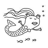 Härlig sjöjungfru med fiskar vektor illustrationer