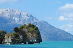 Härlig sjökust för blått vatten i Rio Tranquilo, Chile Fotografering för Bildbyråer