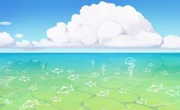 Härlig sjösidasiktsaffisch Fotografering för Bildbyråer