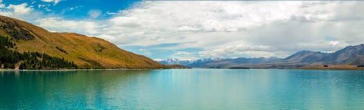 Härlig sjöTekapo panorama, Nya Zeeland Royaltyfria Bilder