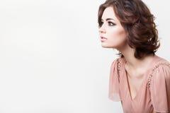 härlig skönhet eyes för naturståenden för makeup den naturliga kvinnan Royaltyfria Bilder