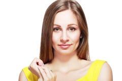 härlig skönhet eyes för naturståenden för makeup den naturliga kvinnan arkivfoto
